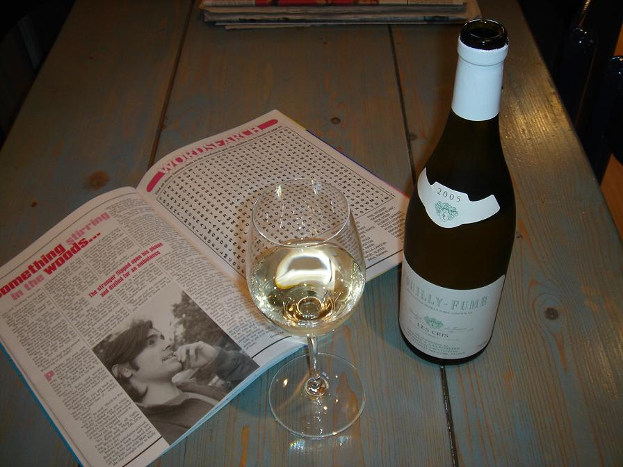 Pouilly Fumé Les Cris, and a puzzle book….for some reason.