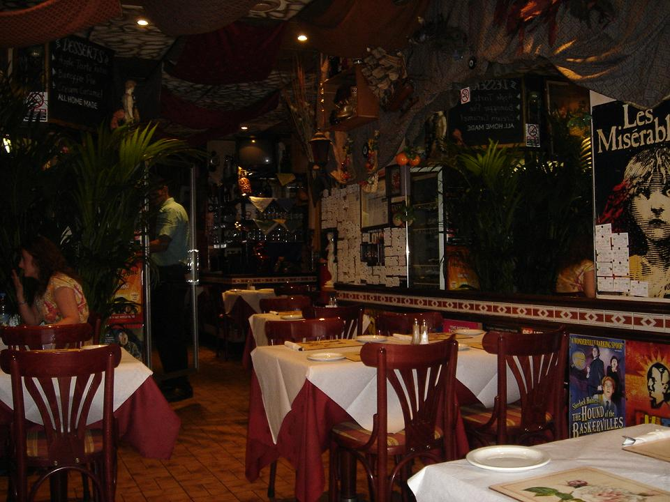 Very funky, romantic and cool.  Mediterranean Cafe, Soho.