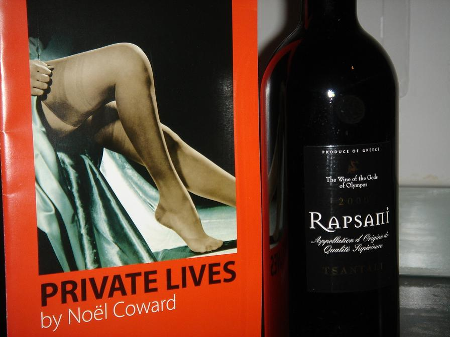 Rapsani and a Private Lives programme….for some reason