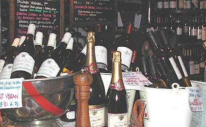 A typical wine display at the Cork and Bottle (courtesy of www.donhewitson.com)