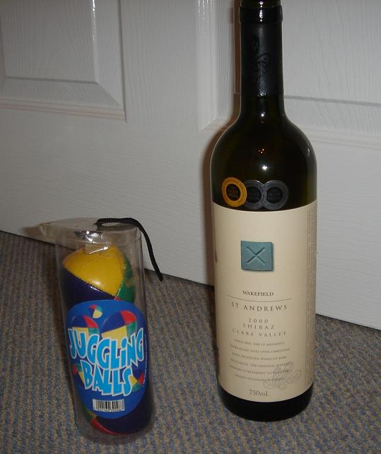 Wakefield St Andrews Shiraz…..and some practice juggling balls….for some reason