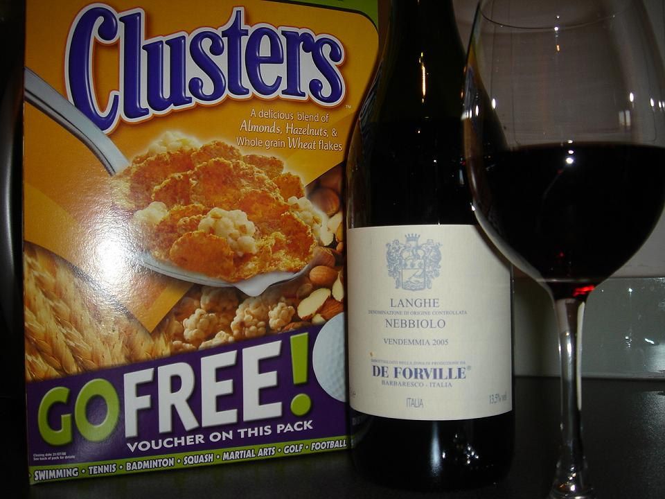 Langhe Nebbiolo next to a box of Honey & Nut Clusters (for some reason)