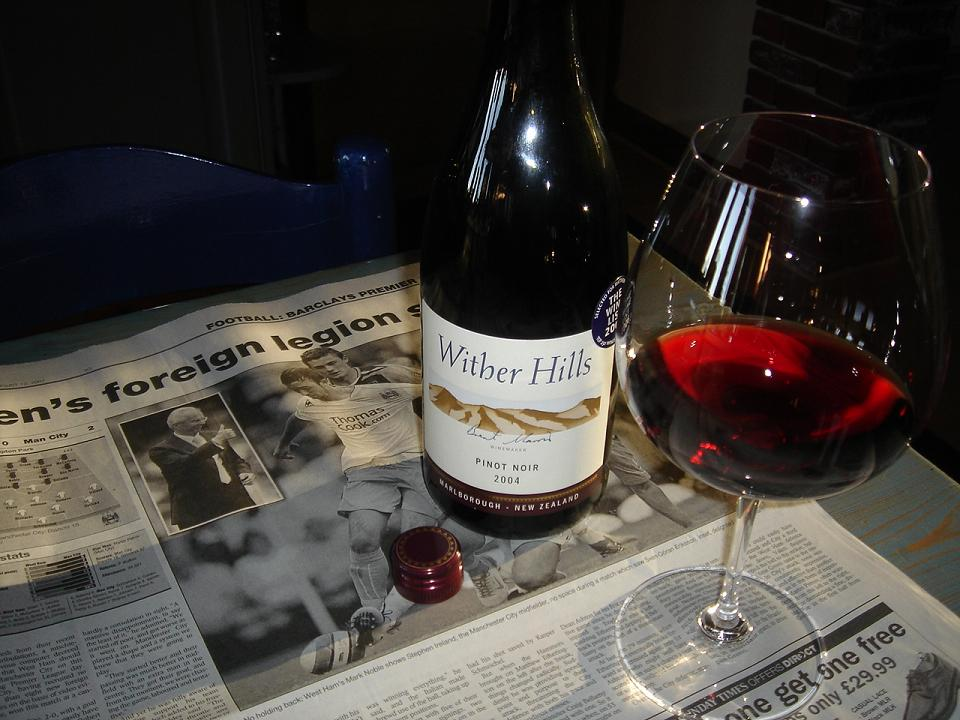 Wither Hills Pinot Noir….and evidence of Man City actually winning a game (for some reason)