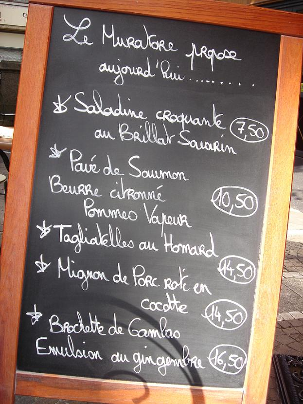 Menu du jour - I liked the look of the Lobster pasta but settled for a steak from the main menu