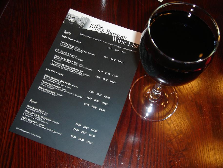 Princely wine list at King's Ransom