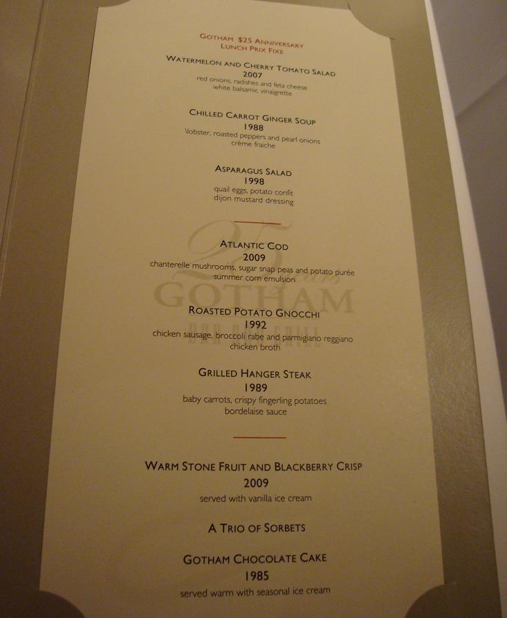 Gotham Prix Fixé lunch menu