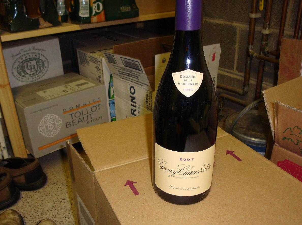 Lovely Gevrey!  In the garage, for some reason