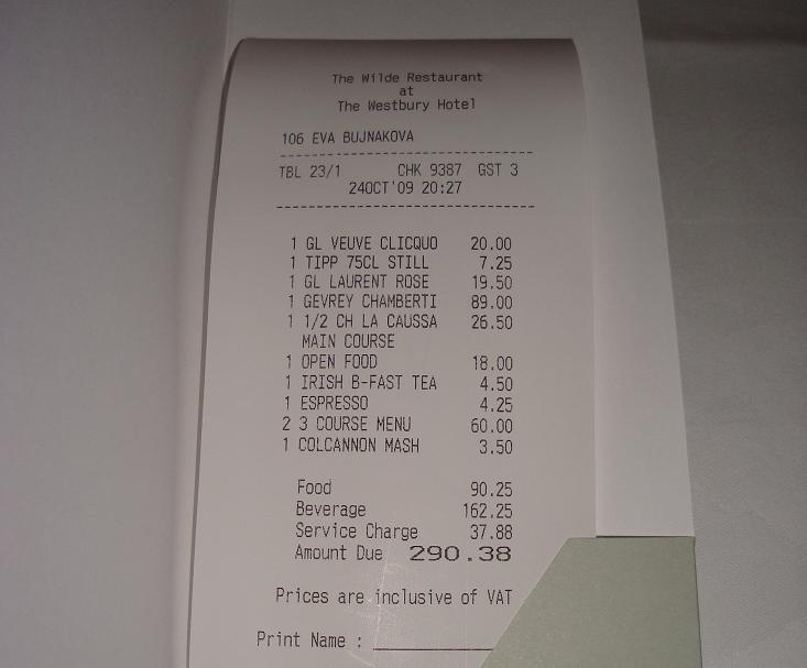 70% drinks - a proper bill!